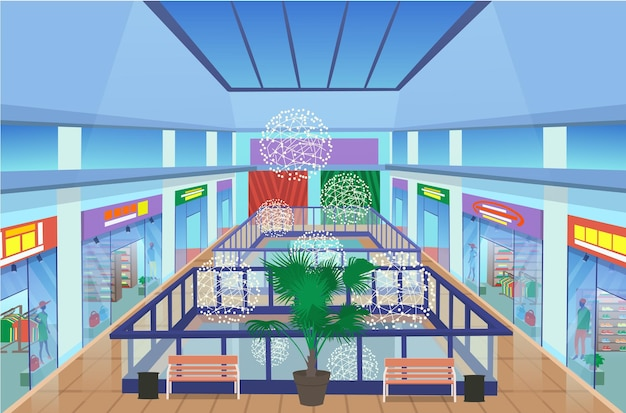 Centrum handlowe wnętrze z roślinami i ławkami, nowoczesne butiki w centrum handlowym