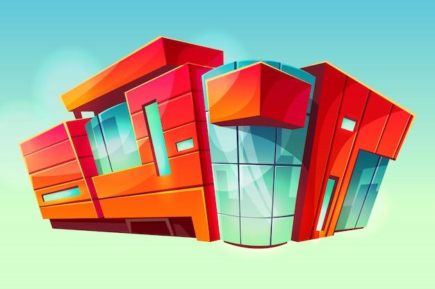 Centrum handlowego lub supermarketa sklepu budynku ilustracja. fasada nowoczesnego centrum handlowego