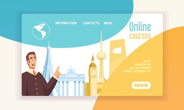 Centrum językowe kursy online informacje płaski transparent koncepcja www z symbolami wieży big ben eiffla