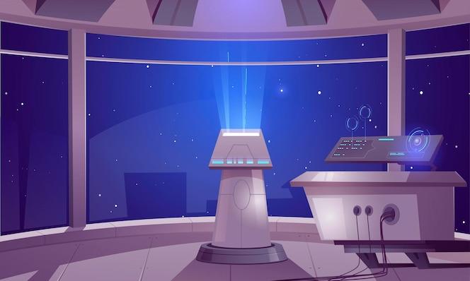 Centrum kontroli statku kosmicznego, wnętrze kabiny kapitana z panelem w centrum danych i widokiem kosmosu przez duże okna. futurystyczny obcy orlop, kokpit w statku kosmicznym, międzygwiezdna rakieta ilustracja kreskówka