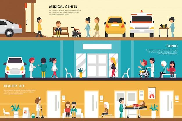 Centrum medyczne, kliniki i zdrowego życia płaski szpital koncepcja wnętrza web wektor illustra
