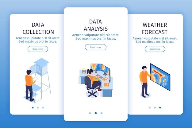 Centrum meteorologiczne pionowe banery ustawione za pomocą przycisków przełączania strony, przeczytaj więcej tekstu przycisku