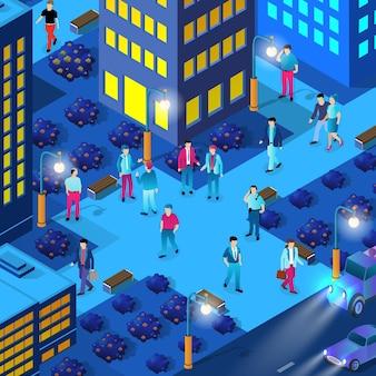 Centrum miasta w nocy neon ultrafioletowy spacerujący ludzie z izometrycznych budynków