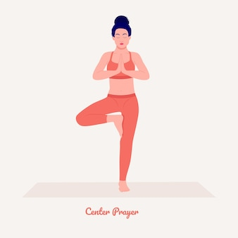 Centrum modlitwa pozycja jogi młoda kobieta ćwicząca ćwiczenia jogi