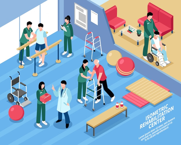 Centrum rehabilitacyjne plakat izometryczny pielęgniarek