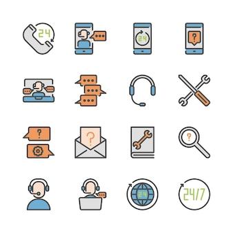 Centrum telefoniczne i wsparcie w zestawie ikon linii kolorów