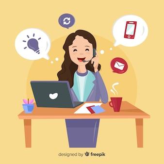 Centrum Telefoniczne Pojęcie Z Kobietą Premium Wektorów