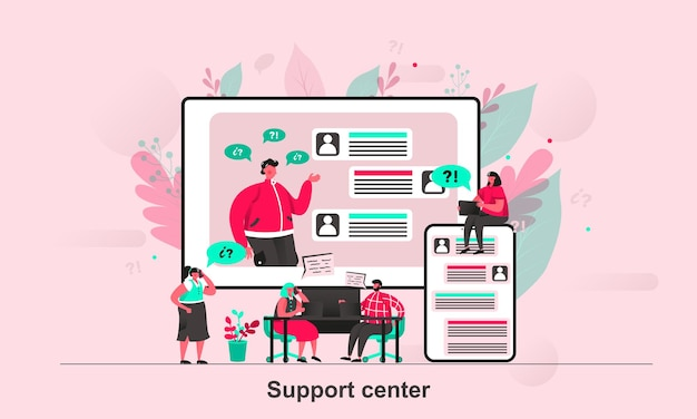 Centrum wsparcia projektu sieci web w stylu płaskiej z postaciami małych ludzi