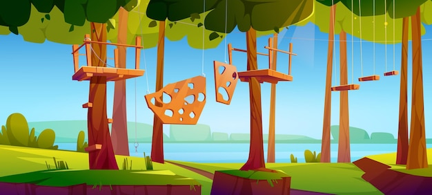 Centrum wspinaczki linowej w parku rozrywki z przeszkodami
