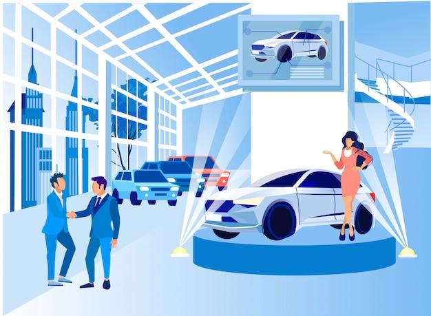 Centrum wystaw. prezentacja nowego samochodu.