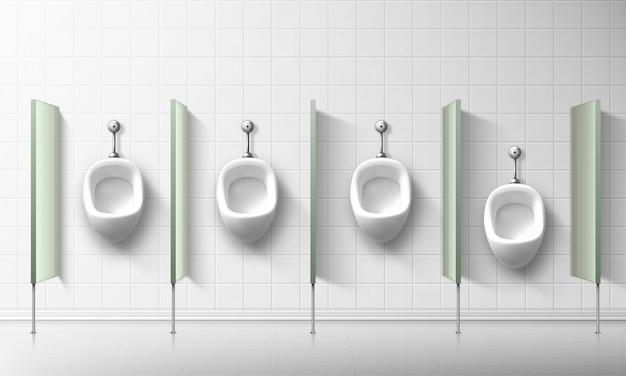 Ceramiczne pisuary dla mężczyzn i chłopców w publicznej toalecie