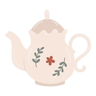Ceramiczny Czajniczek W Stylu Vintage Z Gałązkami I Dekoracją Kwiatową Premium Wektorów