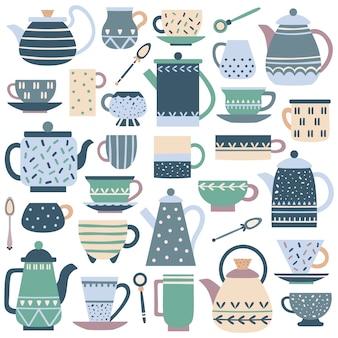 Ceramiczny kubek kuchenny. porcelanowy serwis do herbaty, porcelanowy czajniczek i talerze