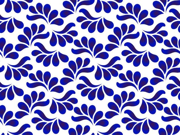 Ceramiczny wzór liści niebieski i biały