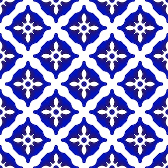 Ceramiczny wzór niebieski i biały