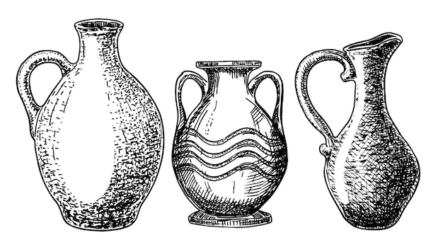 Ceramika i ceramika szkic zestaw. wektor ilustracja na białym tle dzban i inne wyroby ceramiczne.