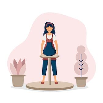 Ceramika mistrz rzemiosła ceramika ceramika dziewczyna zajmuje się garncarstwem