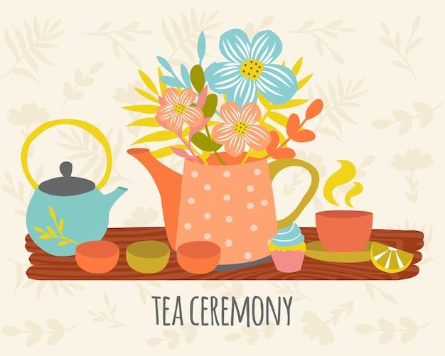 Ceremonia herbaty ręcznie rysowane projekt