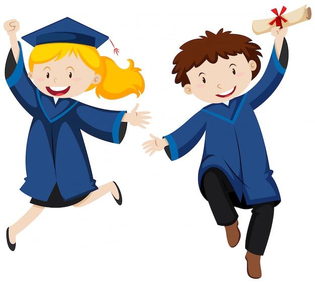 Ceremonia rozdania dyplomów z dwoma studentami