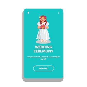 Ceremonia ślubna Dziewczyna Nosić Ceremonialną Sukienkę Premium Wektorów