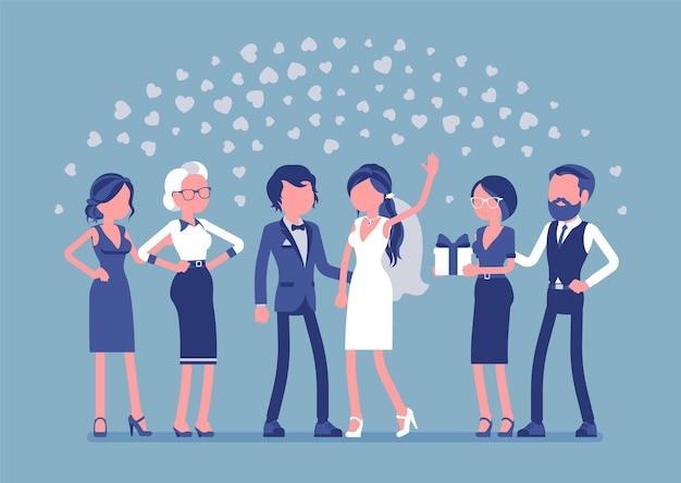 Ceremonia ślubna nowożeńcy goście ilustracja