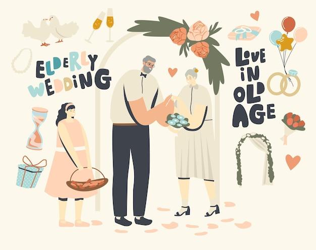 Ceremonia ślubna starszych postaci. szczęśliwa para nowożeńców mężczyzna i kobieta wychodzi za mąż zmiana pierścieni. w wieku panna młoda i pan młody trzymając się za ręce. nowożeńcy, relacje miłosne. liniowa ilustracja wektorowa