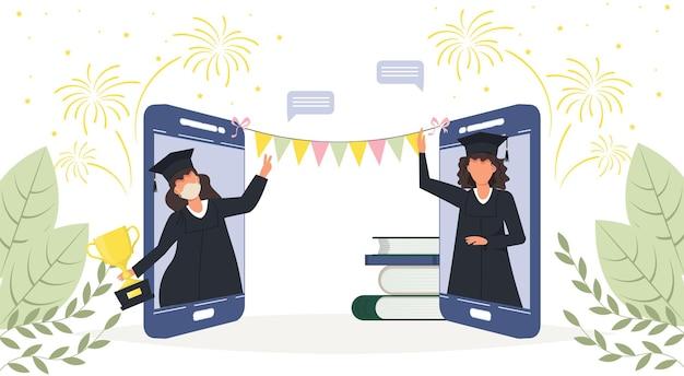 Ceremonia ukończenia szkoły online, szczęśliwi uśmiechnięci absolwenci w smartfonie z dyplomem