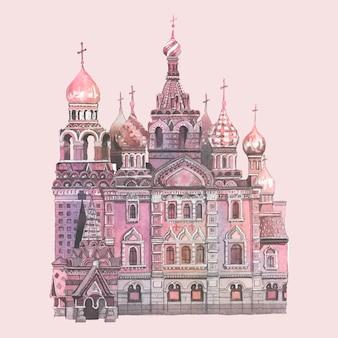 Cerkiew wasyla błogosławionego namalowana akwarelą