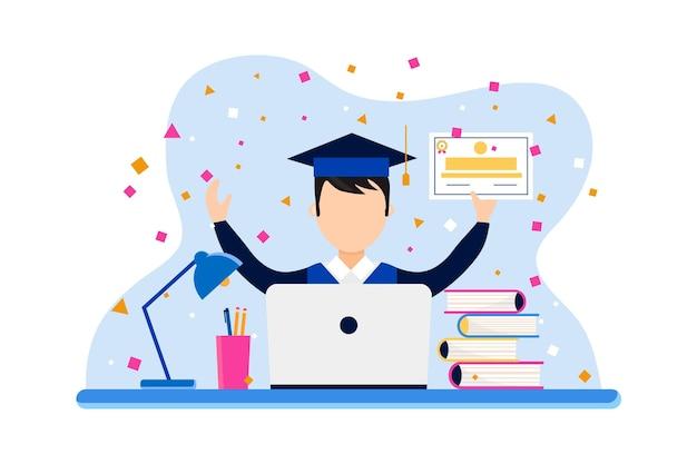 Certyfikacja online z absolwentem i laptopem