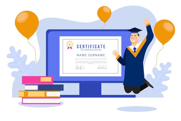 Certyfikacja online z balonami i absolwentem