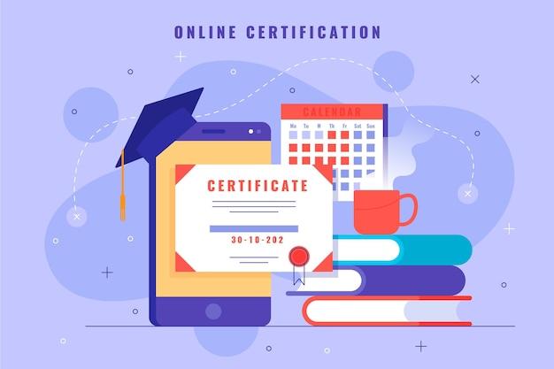 Certyfikacja online ze smartfonem i książkami