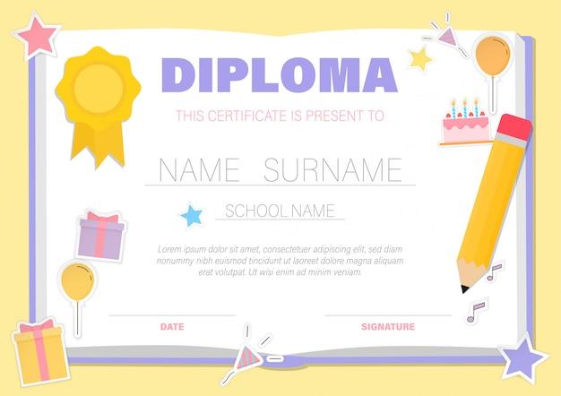 Certyfikat dla dzieci, świadectwa ukończenia przedszkola szablony tła
