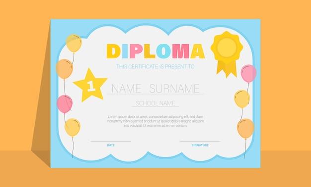 Certyfikat dla dzieci z kolorowymi balonami, tło świadectw ukończenia przedszkola