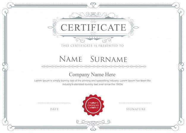 Certyfikat granicy wektor elegancki kwitnie szablon