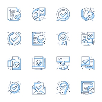 Certyfikat, gwarancja dokumentów prawnych liniowy zestaw ikon.