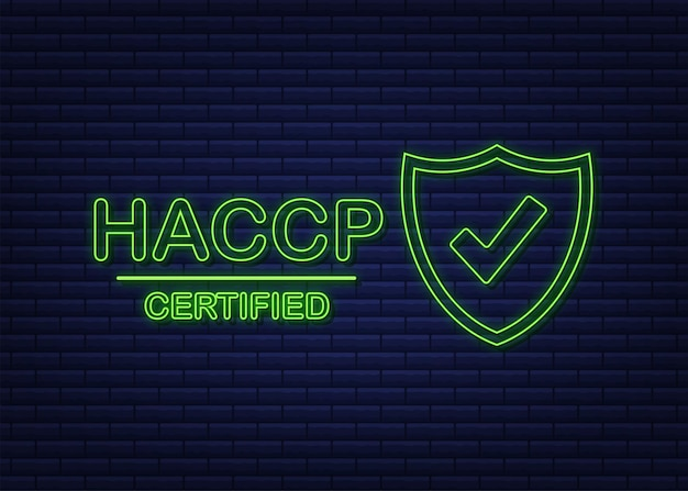 Certyfikat haccp ikona na białym tle. neonowa ikona. czas ilustracja wektorowa.