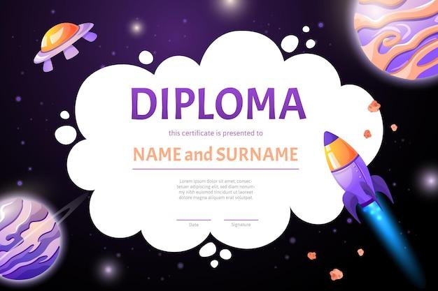 Certyfikat kosmicznego dyplomu z rakietami i planetami dla dzieci w wieku szkolnym i przedszkolnym. kreskówka płaska ilustracja w stylu gry