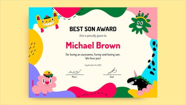 Certyfikat Kreatywnych Zabawnych Potworów Dla Dzieci Darmowych Wektorów
