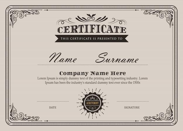 Certyfikat kwitnie elegancki szablon wektor vintage