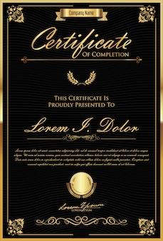 Certyfikat lub dyplom retro starodawny szablon