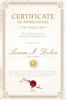 Certyfikat lub dyplom retro szablon projektu