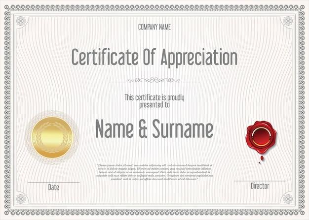 Certyfikat lub dyplom retro vintage szablon