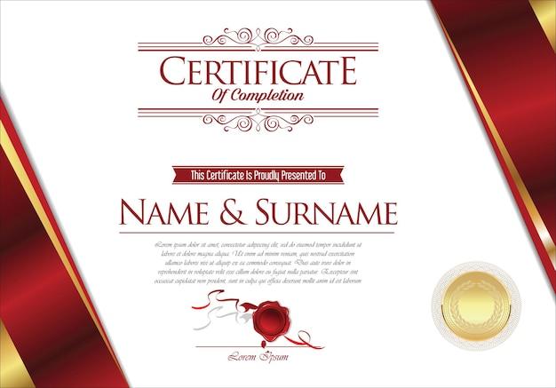 Certyfikat lub dyplom szablon projektu retro vintage