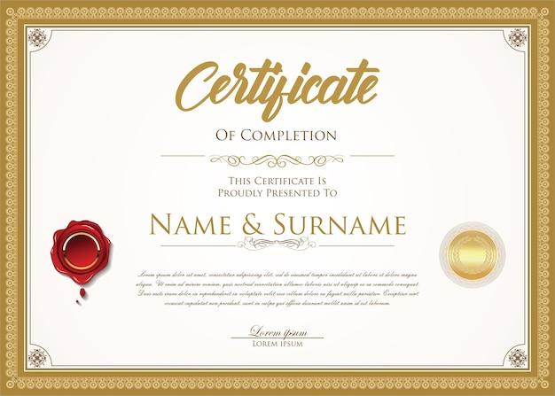 Certyfikat lub dyplom szablon projektu retro
