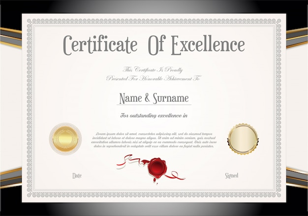 Certyfikat lub dyplom w stylu retro vintage