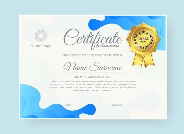 Certyfikat nagrody w stylu abstrakcyjnej fali w kolorze niebieskim