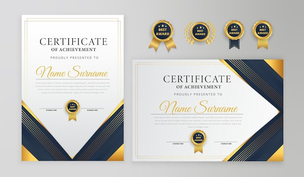Certyfikat niebieski i złoty z odznakami i nowoczesnym szablonem linii