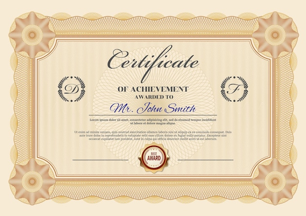 Certyfikat osiągnięć lub szablon dyplomu