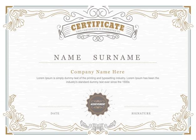 Certyfikat osiągnięcia eleganckie kwitnie antyczne ramki vintage