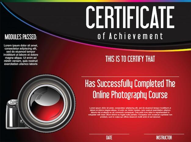 Certyfikat osiągnięcia kursu fotografii online